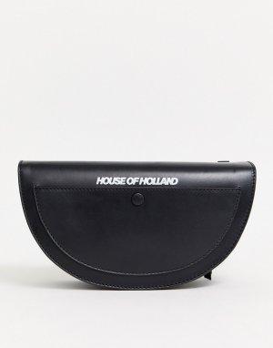Кожаная сумка через плечо в форме полумесяца House Of Holland-Черный Holland