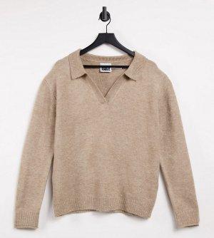 Бежевый вязаный пуловер в стиле унисекс с воротником Inspired Reclaimed Vintage