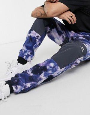 Фиолетовые флисовые штаны со сплошным принтом polarys-Фиолетовый цвет HUF