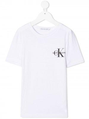 Футболка с круглым вырезом и логотипом Calvin Klein Kids. Цвет: белый