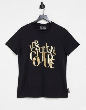 Черная футболка с золотистым логотипом Couture-Черный цвет Versace Jeans