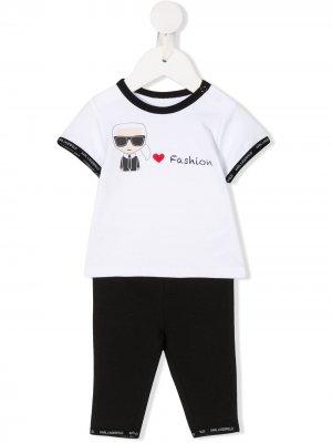 Брючный костюм с принтом Karl Lagerfeld Kids. Цвет: черный