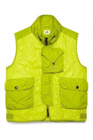 Неоново-зеленый жилет с карманами C.P. Company. Цвет: желтый