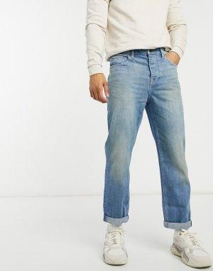 Укороченные джинсы прямого кроя с эффектом винтажной японской потертости затемнениями -Синий ASOS DESIGN