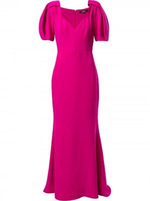 Платье макси с короткими рукавами Badgley Mischka. Цвет: розовый