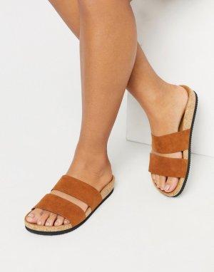 Коричневые сандалии с двумя ремешками -Коричневый Monki