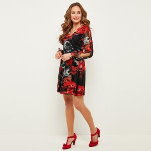 Платье с запахом, длинными рукавами и цветочным рисунком JOE BROWNS. Цвет: черный наб. рисунок
