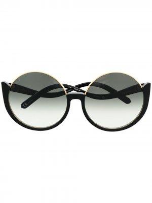 Солнцезащитные очки в круглой оправе Linda Farrow. Цвет: черный