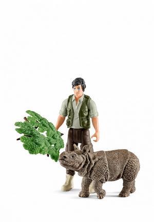 Набор игровой Schleich Рейнджер и индийский носорог. Цвет: разноцветный
