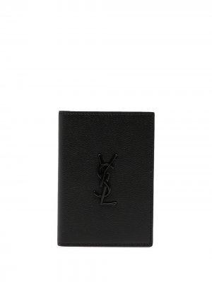 Обложка для паспорта с монограммой Saint Laurent. Цвет: черный
