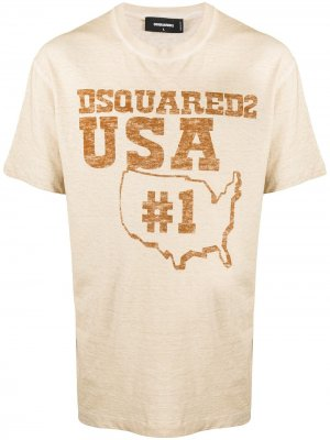 Slogan print T-shirt Dsquared2. Цвет: нейтральные цвета