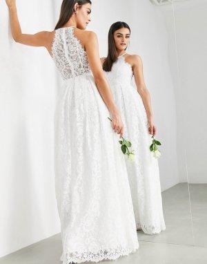 Кружевное свадебное платье макси -Белый ASOS EDITION