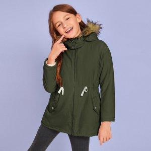 Пальто-парка на кулиске для девочек SHEIN. Цвет: армейский зеленый