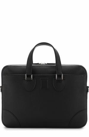 Кожаный портфель с плечевым ремнем Bertoni. Цвет: черный