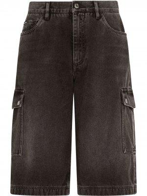 Джинсовые шорты карго Dolce & Gabbana. Цвет: черный