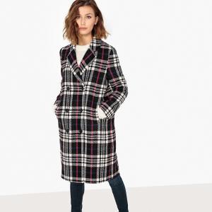 Пальто в клетку с запахом из полушерстяной ткани SELECTED FEMME. Цвет: экрю/ черный