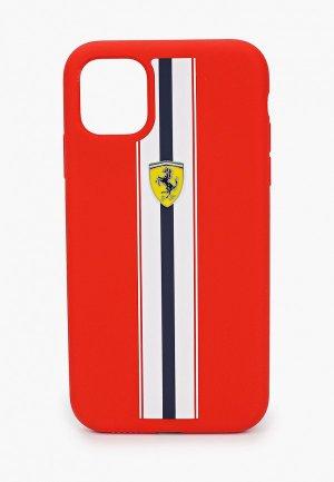 Чехол для iPhone Ferrari 11, On-Track Silicone case Stripes Red. Цвет: красный