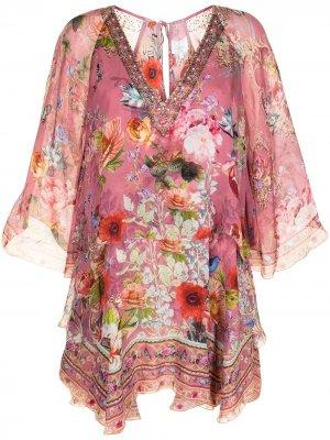 Платье мини с цветочным принтом Camilla. Цвет: розовый