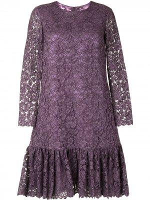 Платье с длинными рукавами и оборками Adam Lippes. Цвет: фиолетовый