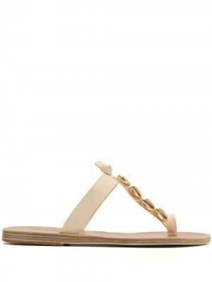 Декорированные шлепанцы Iris Ancient Greek Sandals. Цвет: коричневый
