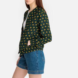 Куртка-бомбер с принтом прямого покроя LA REDOUTE COLLECTIONS. Цвет: рисунок/зеленый
