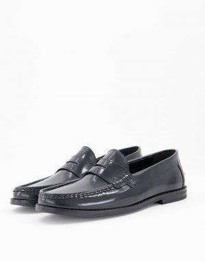 Черные кожаные лоферы с черной подошвой -Черный цвет ASOS DESIGN