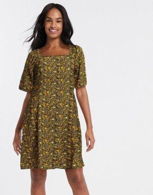 Платье миди с цветочным принтом -Многоцветный Blend She