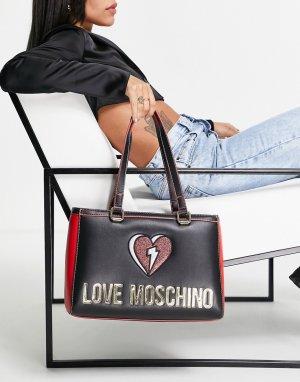 Черная сумка-тоут с большим логотипом -Черный цвет Love Moschino
