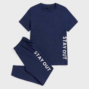 Мужской с текстовым принтом Футболка & Спортивные брюки Домашний комплект SHEIN. Цвет: темно-синий