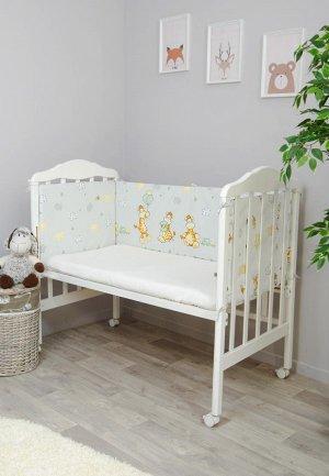 Бортик для детской кровати Сонный Гномик Жирафик. Цвет: серый