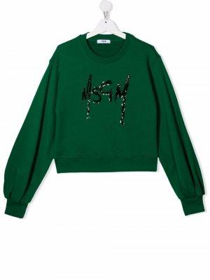 TEEN logo sweatshirt MSGM Kids. Цвет: зеленый