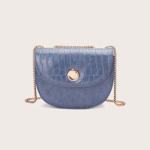 Рельефная сумка через плечо на цепочке SHEIN. Цвет: синий