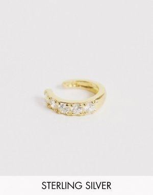 Кафф из позолоченного серебра с камнями -Золотой ASOS DESIGN