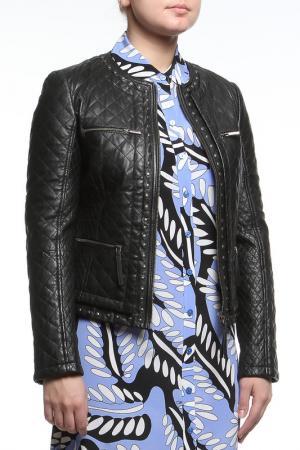 Куртка кожаная Max Mara. Цвет: черный