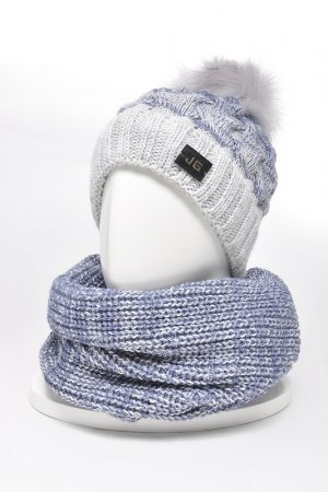 Комплект: шапка, снуд, варежки JAGGA. Цвет: светло-серый, индиго