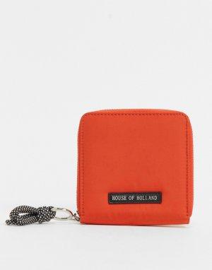 Оранжевый кошелек с декоративным шнурком -Оранжевый цвет House of Holland