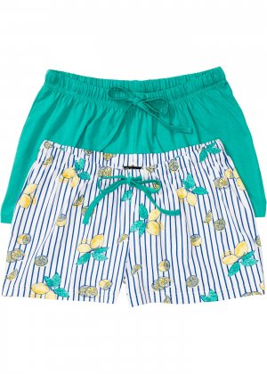 Шорты пижамные (2 шт.) bonprix. Цвет: зеленый