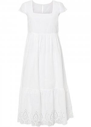 Платье миди bonprix. Цвет: белый