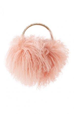 Наушники с отделкой из овчины Dolce & Gabbana. Цвет: розовый