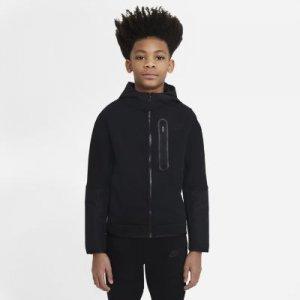 Худи из тканого материала с молнией во всю длину для мальчиков школьного возраста Nike Sportswear Tech Fleece - Черный