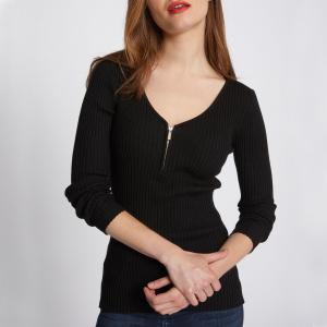 Пуловер с V-образным вырезом из трикотажа в рубчик MORGAN. Цвет: черный
