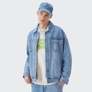 Мужской Джинсовая куртка с карманом пуговица SHEIN. Цвет: легко-синий