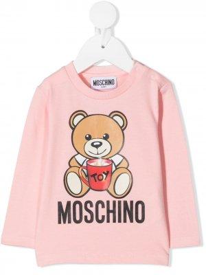 Long sleeve teddy print T-shirt Moschino Kids. Цвет: розовый