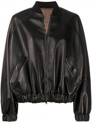 Куртка-бомбер со сборками Brunello Cucinelli. Цвет: черный