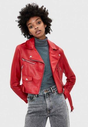 Куртка кожаная Bershka. Цвет: красный
