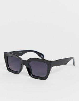 Черные солнцезащитные очки в пластиковой квадратной оправе -Черный ASOS DESIGN