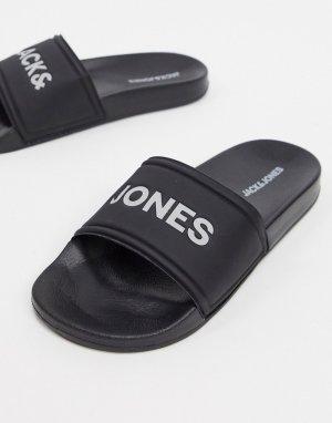Черные шлепанцы -Черный Jack & Jones