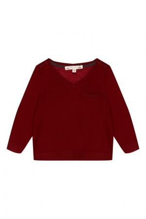Бордовый кашемировый пуловер Bonpoint. Цвет: красный