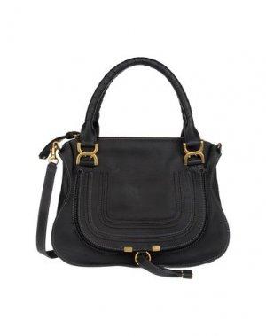 Большая кожаная сумка CHLOÉ. Цвет: черный