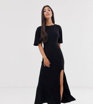 Платье макси с открытой спиной, расклешенными рукавами и разрезом ASOS DESIGN Petite-Черный Petite